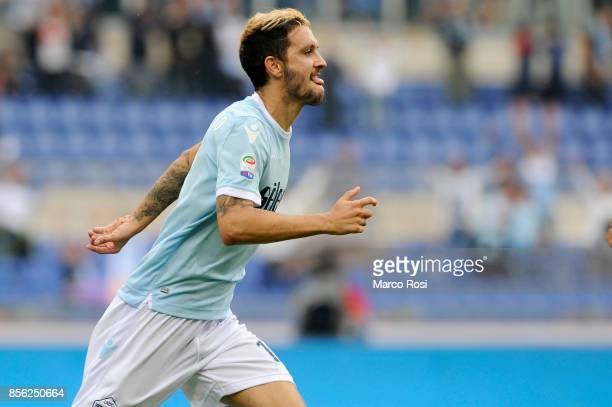 Luis Alberto of SS Lazio celebrates a third goal with his teammates during the Serie A match between SS Lazio and US Sassuolo at Stadio Olimpico on...