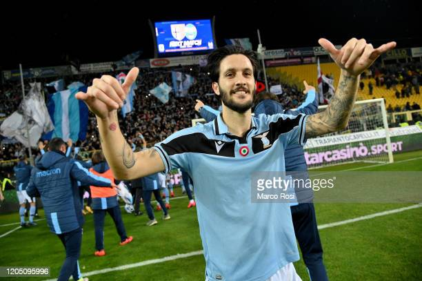 Luis Alberto of SS Lazio celebrates a winner game after the Serie A match between Parma Calcio and SS Lazio at Stadio Ennio Tardini on February 09...