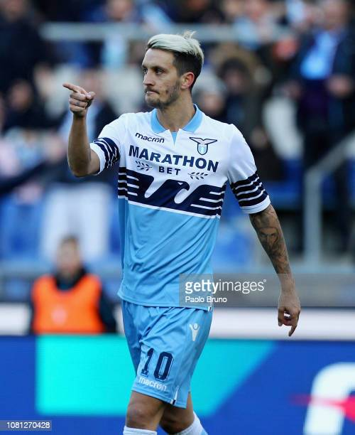 Luis Alberto of SS Lazio celebrates after scoring the opening goal during the Coppa Italia match between SS Lazio and Novara at Olimpico Stadium on...