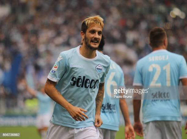 Luis Alberto of SS Lazio celebrates after scoring the team's first goal during the Serie A match between SS Lazio and US Sassuolo at Stadio Olimpico...