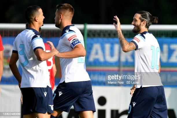 Luis Alberto of SS Lazio celebrates the opening goal during the Pre-Season Friendly match between SS Lazio v Triestina on July 23, 2021 in Auronzo di...
