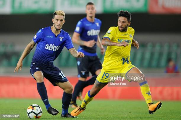 Luis Alberto of SS Lazio compete for the ball with Lucas Castroof AC Chievo Verona during the Serie A match between AC Chievo Verona and SS Lazio at...