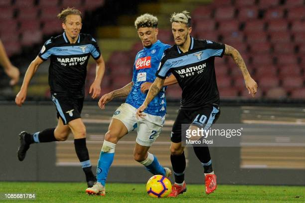 Luis Alberto of SS Lazio compete fot the ball with Kevin Malcut of SSC Napoli during the Serie A match between SSC Napoli and SS Lazio at Stadio San...