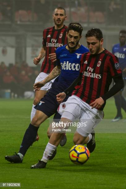 Luis Alberto of SS Lazio competes for the ball with Davide Calabria of AC Milan during Serie A football AC Milan versus SS Lazio Ac Milan wins 21