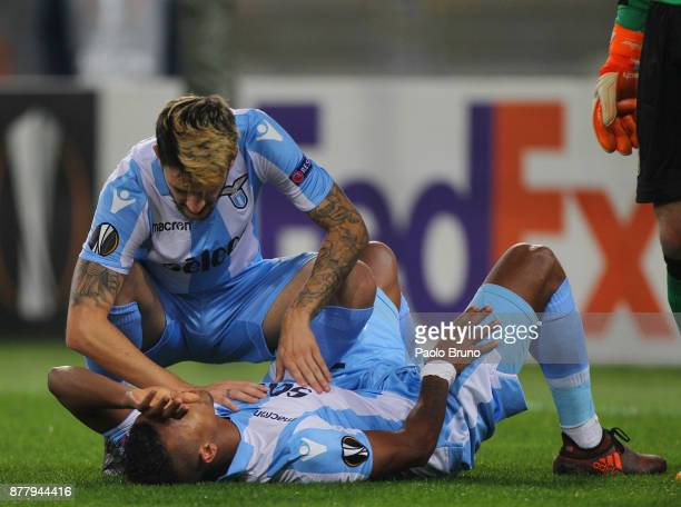 Luis Alberto of SS Lazio helps his teammate Nani injured during the UEFA Europa League group K match between SS Lazio and Vitesse at Olimpico Stadium...