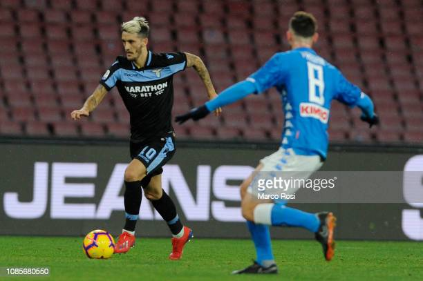 Luis Alberto of SS Lazio in action during the Serie A match between SSC Napoli and SS Lazio at Stadio San Paolo on January 20 2019 in Naples Italy