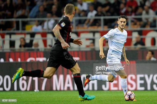 Luis Alberto of SS Lazio in action during the Serie A match between AC Milan and SS Lazio at Stadio Giuseppe Meazza on September 20 2016 in Milan...