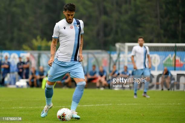 Luis Alberto of SS Lazio passes the ball during the pre-season friendly match between SS Lazio v Virtus Entella on July 24, 2019 in Auronzo di...