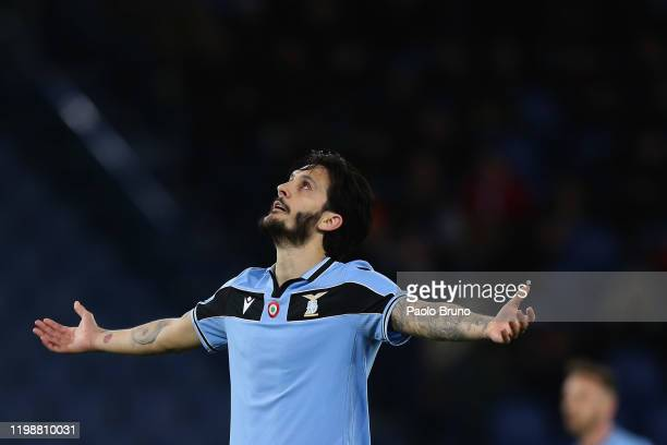 Luis Alberto of SS Lazio reacts during the Serie A match between SS Lazio and Hellas Verona at Stadio Olimpico on February 5 2020 in Rome Italy