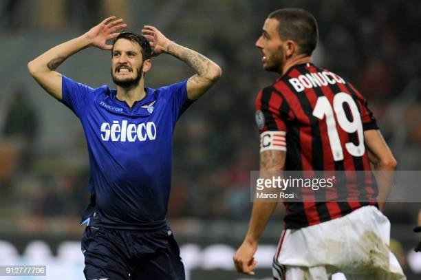 Luis Alberto of SS Lazio reacts during the TIM Cup match between AC Milan and SS Lazio at Stadio Giuseppe Meazza on January 31 2018 in Milan Italy