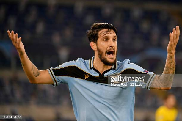 Luis Alberto of SS Lazio reacts during the UEFA Champions League Group F stage match between SS Lazio and Borussia Dortmund at Stadio Olimpico on...