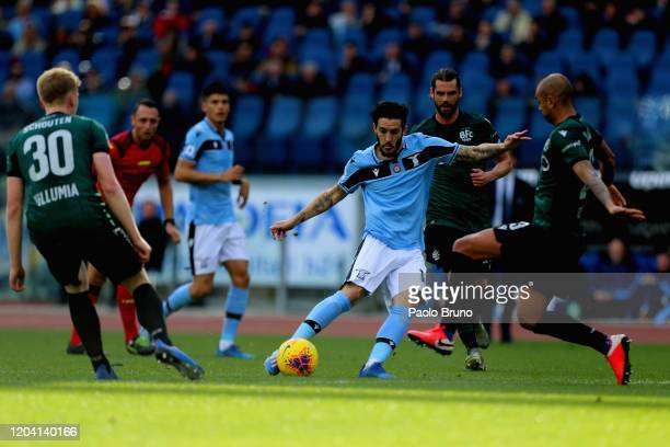 Luis Alberto of SS Lazio scores the opening goal during the Serie A match between SS Lazio and Bologna FC at Stadio Olimpico on February 29 2020 in...
