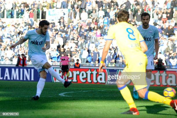 Luis Alberto of SS Lazio scores the opening goal during the Serie A match between SS Lazio and AC Chievo Verona at Stadio Olimpico on January 21 2018...