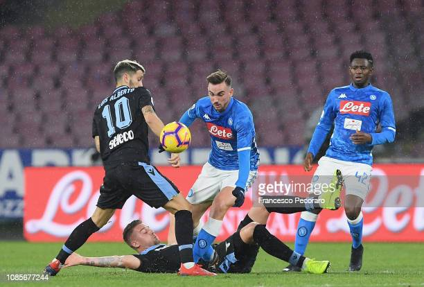 Luis Alberto of SS Lazio vies Fabian Ruiz of SSC Napoli during the Serie A match between SSC Napoli and SS Lazio at Stadio San Paolo on January 20...