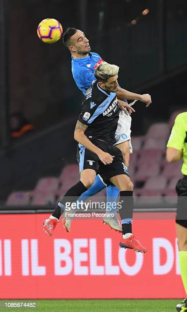 Luis Alberto of SS Lazio vies Nikola Maksimovic of SSC Napoli during the Serie A match between SSC Napoli and SS Lazio at Stadio San Paolo on January...