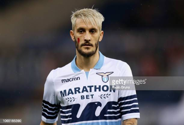 Luis Alberto of SS Lazio with the face painted against the violence of women during the Serie A match between SS Lazio and AC Milan at Stadio...