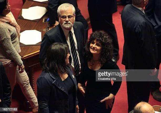 Luis Alberto Orellana Senate Presidential candidate of the 5 Star Movement and senator Paola Nugnes attend the Italian Parliament inaugural session...