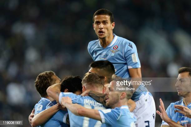 Luis Alberto Romero Alconchel of SS Lazio and his teammates the opening goal of the Italian Supercup match between Juventus and SS Lazio at King Saud...