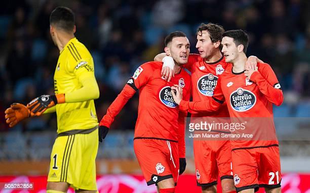 Luis Alberto Romero of Deportivo La Coruna celebrates after scoring goal during the La Liga match between Real Sociedad de Futbol and RC Deportivo La...
