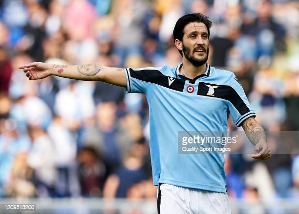 Luis Alberto Romero of Lazio reacts during the Serie A match between SS Lazio and Bologna FC at Stadio Olimpico on February 29 2020 in Rome Italy