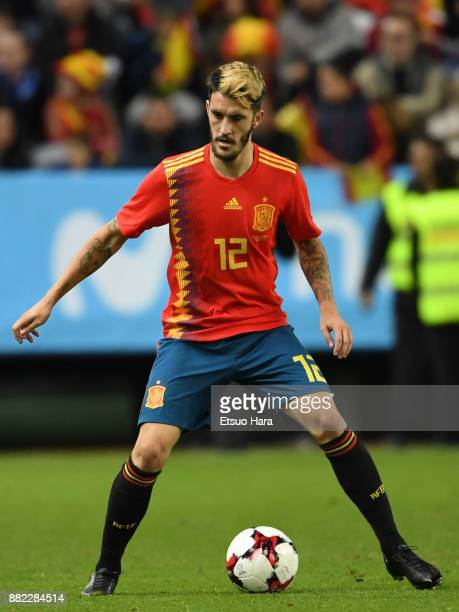 Luis Alberto Romero of Spain in action during the international friendly match between Spain and Costa Rica at La Rosaleda Stadium on November 11...