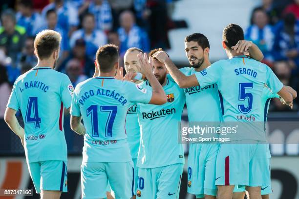 Luis Alberto Suarez Diaz of FC Barcelona celebrates after scoring his goal with his teammates during the La Liga 201718 match between CD Leganes vs...