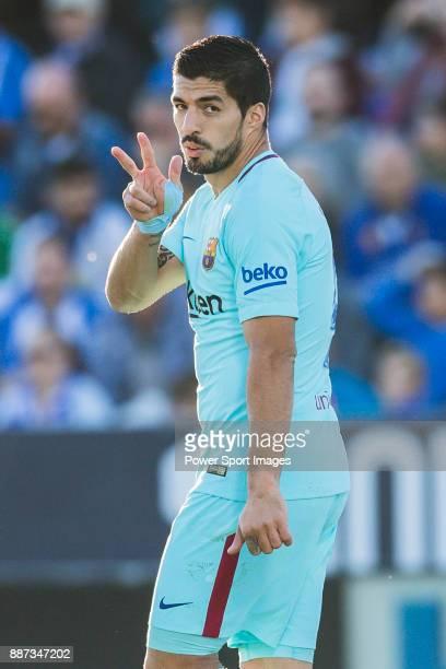 Luis Alberto Suarez Diaz of FC Barcelona celebrates after scoring his goal during the La Liga 201718 match between CD Leganes vs FC Barcelona at...