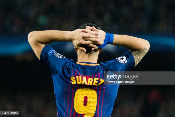 Luis Alberto Suarez Diaz of FC Barcelona reacts during the UEFA Champions League 201718 Round of 16 match between FC Barcelona and Chelsea FC at Camp...