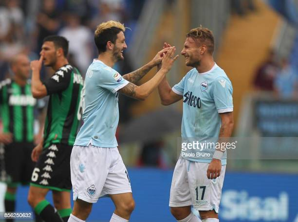 Luis Alberto with his teammate Ciro Immobile of SS Lazio celebrates after scoring the team's third goal during the Serie A match between SS Lazio and...