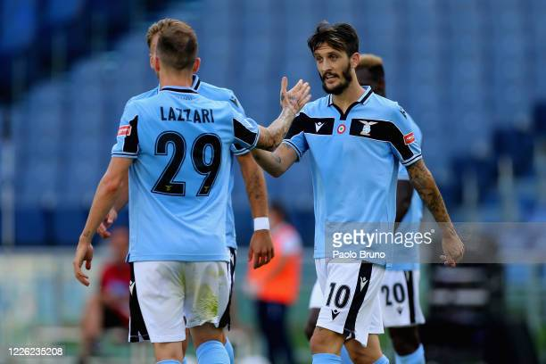 Luis Alberto with his teammate Manuel Lazzari of SS Lazio celebrates after scoring the opening goal during the Serie A match between SS Lazio and US...