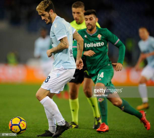 Luis Albertoi of SS lazio compete for the ball with Marco Benassi of ACF Fiorentina during the Serie A match between SS Lazio and ACF Fiorentina at...
