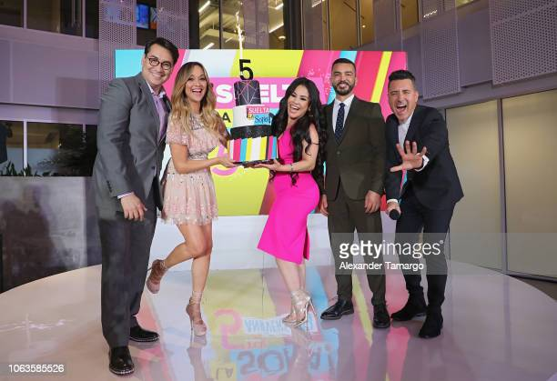 Luis Alfonso Borrego Veronica Bastos Carolina Sandoval Juan Manuel Cortes and Jorge Bernal on stage at Suelta La Sopa's 5th Anniversary Red Carpet at...