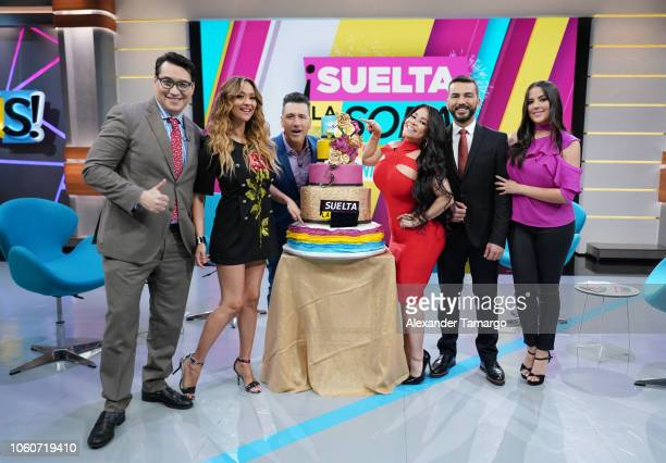 Luis Alfonso Borrego Veronica Bastos Jorge Bernal Carolina Sandoval Juan Manuel Cortes and Catalina Mora are seen on the new set of Suelta La Sopa...