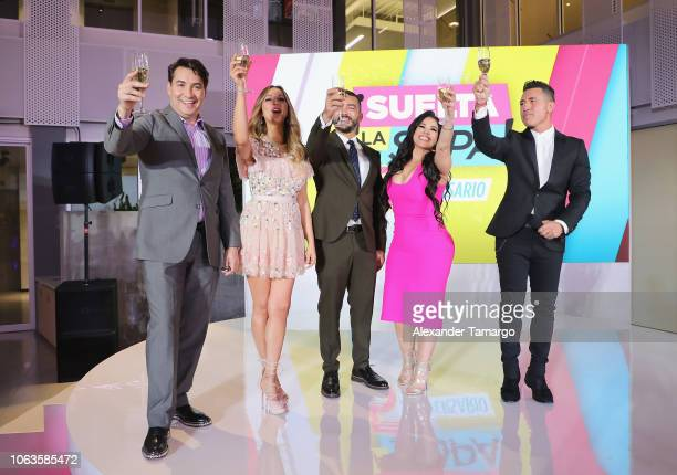Luis Alfonso Borrego Veronica Bastos Juan Manuel Corets Carolina Sandoval and Jorge Bernal on stage at Suelta La Sopa's 5th Anniversary Red Carpet at...