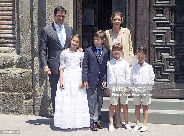 Luis Alfonso de Borbon Margarita Vargas and their twin sons Luis de Borbon and Alfonso de Borbon attend their daughter Eugenia de Borbon 's First...