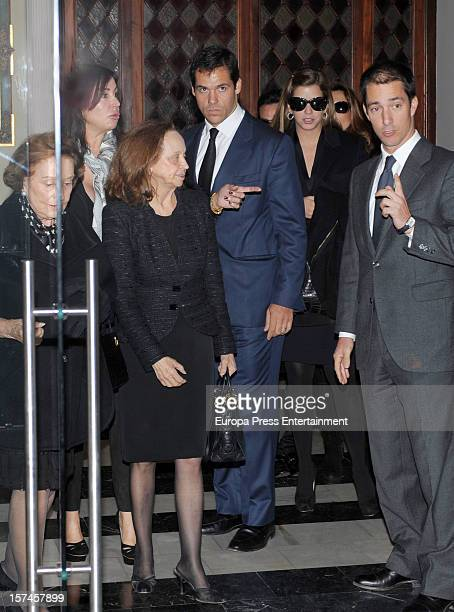 Luis Alfonso de Borbon Margarita Vargas Baroness of Alacuas Amparo Corell Carmen Franco and Carmen Martinez Bordiu attend the funeral and burial for...