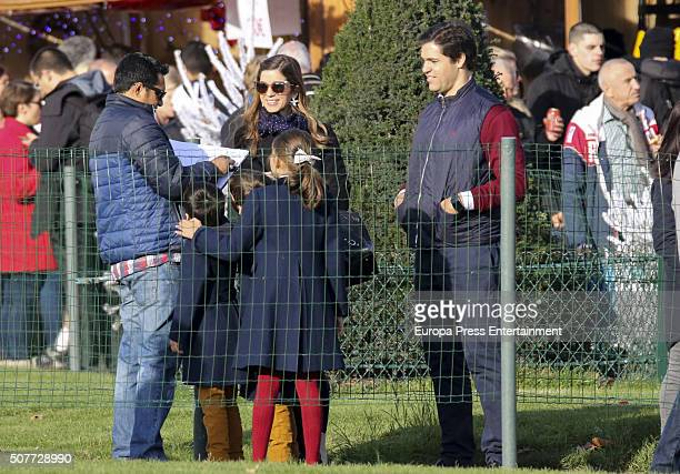 Luis Alfonso de Borbon Margarita Vargas their twins Luis de Borbon and Alfonso de Borbon and Eugenia de Borbon are seen going for tourism on December...