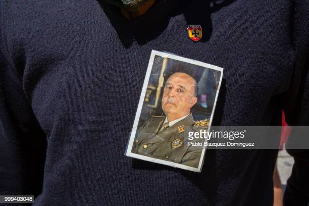 Luis Alfonso de Borbon who is greatgrandson of Francisco Franco leaves the El Valle de los Caidos monument as people do fascists salutes during a...