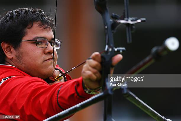Luis Alvarez Murillo of Mexico competes in the Men's Team Archery semi final between Mexico and Italy on Day 1 of the London 2012 Olympic Games at...
