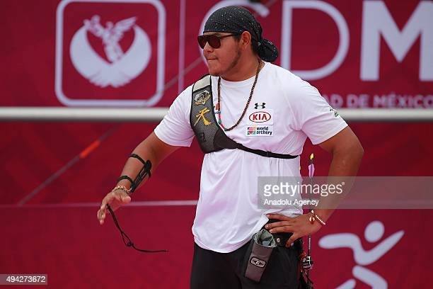 Luis Alvarez of Mexico reacts during the recurve men's individual competition as part of the Mexico City 2015 Archery World Cup Finals at Zocalo Main...