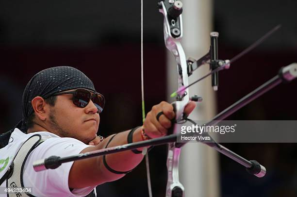 Luis Alvarez of Mexico shoots during the recurve men's individual competition as part of the Mexico City 2015 Archery World Cup Final at Zocalo Main...