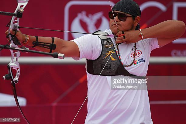 Luis Alvarez of Mexico shoots during the recurve men's individual competition as part of the Mexico City 2015 Archery World Cup Finals at Zocalo Main...
