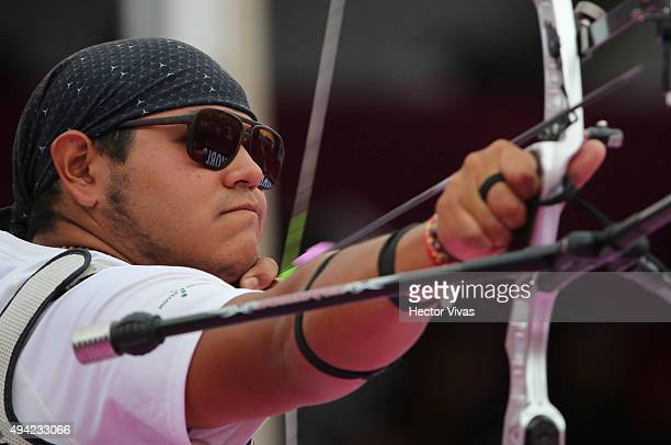 Luis Alvarez of Mexico shoots during the recurve mixed teams competition as part of the Mexico City 2015 Archery World Cup Final at Zocalo Main...