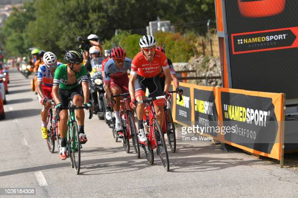 Luis Angel Mate of Spain and Team Cofidis Polka Dot Mountain Jersey / Luis Guillermo Mas of Spain and Team Caja Rural Seguros RGA / Bauke Mollema of...