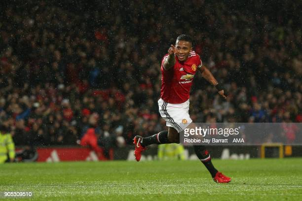 Luis Antonio Valencia of Manchester United celebrates after scoring a goal to make it 10 during the Premier League match between Manchester United...