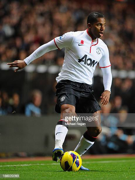 Luis Antonio Valencia of Manchester United in action during the Barclays Premier league match between Aston Villa and Manchester United at Villa Park...