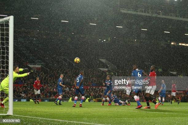 Luis Antonio Valencia of Manchester United scores a goal to make it 10 during the Premier League match between Manchester United and Stoke City at...