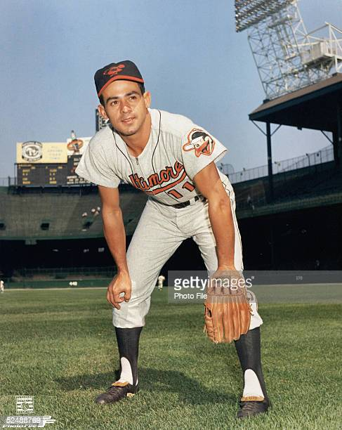Luis Aparicio of the Baltimore Orioles poses for an action portrait Aparicio played for the Orioles from 196367