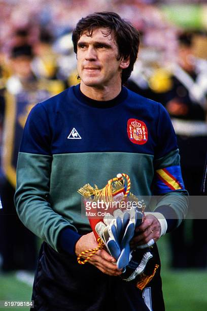 Luis Arconada of Spain during the Football European Championship between Portugal and Spain Marseille France on 17 June 1984