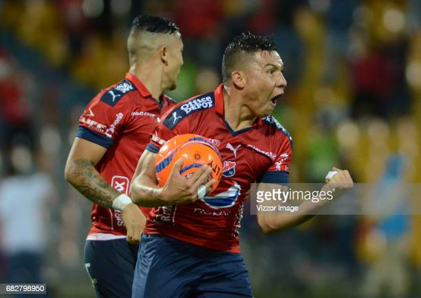 Luis Arias of Independiente Medellin celebrates after scoring the second goal of his team during a match between Independiente Medellin and America...